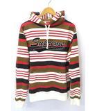 シュプリーム SUPREME 2018SS SUPREME シュプリーム Striped Hooded Sweatshirt ストライプ ロゴ スウェット パーカー L Red