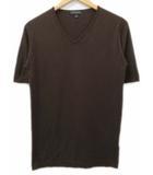 ジョンスメドレー JOHN SMEDLEY ニット Tシャツ Vネック 半袖 シーアイランドコットン 茶 ブラウン S イングランド製 英国製