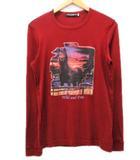 ドルチェ&ガッバーナ ドルガバ DOLCE&GABBANA Tシャツ カットソー 長袖 ロングスリーブ 赤 レッド 44 プリント コットン ddd