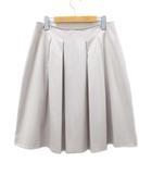 23区 オンワード樫山 スカート 膝丈 フレア タック ベージュ 46 大きいサイズ