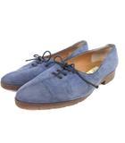 セリーヌ CELINE パンプス フラットシューズ ポインテッドトゥ スエード 青系 ブルー 36 靴