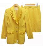 クリアインプレッション CLEAR IMPRESSION セットアップ スーツ ジャケット スカート パールボタン 刺繍 ウール混 黄 イエロー