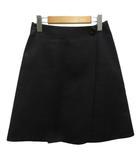 セリーヌ CELINE スカート ミニ 台形 リネン混 ボタン 34 ブラック 黒