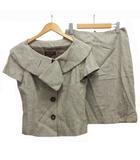 エスカーダ ESCADA セットアップ 半袖 ジャケット スカート ツイード シルク混 36 ベージュ