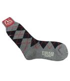 エヴィス EVISU 靴下 ソックス アーガイル ハイソックス ワンポイント ロゴ グレー マルチカラー