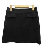 クイーンズコート QUEENS COURT ミニスカート ウール混 台形 ストレッチ 2 ブラック 黒