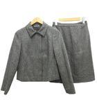 クリツィア ポイ KRIZIAPOI セットアップ  スーツ ジャケット スカート ステンカラー ウール混 シルク混 40 グレー