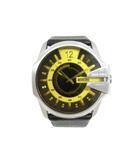 ディーゼル DIESEL DZ-1207 腕時計 クオーツ レザー ステンレススティール ブラック イエロー シルバー