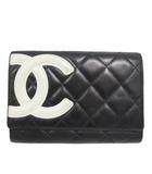 シャネル CHANEL A26722 カンボンライン 財布 ウォレット 二つ折り ロゴ カーフスキン 黒 ブラック 白 ホワイト
