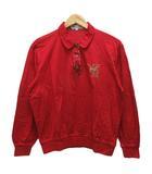 ダックス DAKS ポロシャツ 長袖 チェック ロゴ 刺繍 コットン L 赤 レッド ベージュ 黒 ブラック