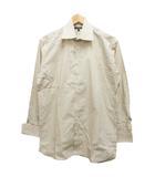 バーバリー BURBERRY シャツ  長袖 ワイドカラー ダブルカフス ストライプ ロゴ 39 ベージュ 白 ホワイト