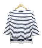 ナノユニバース nano universe Tシャツ カットソー 七分袖 クルーネック ボーダー サイドスリット S 白 ホワイト 青 ブルー
