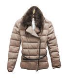 アルマーニ コレツィオーニ ARMANI COLLEZIONI ダウン ジャケット テーラード ショート丈 ファー付 ベルト付 42 茶 ブラウン