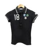 バーニーズニューヨーク BARNEYS NEW YORK Golf ポロシャツ 半袖 ロゴ ワッペン ライン プリント コットン L 黒 ブラック グレー