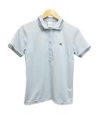 アディダス adidas ポロシャツ 半袖 ワンポイント ロゴ刺繍 ライン M ライトグレー