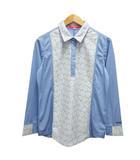 マリクレール MARIE CLAIRE ポロシャツ 長袖 花柄 レース クロシェ ギャザー ロゴ刺繍 LL 水色 ライトブルー 白 ホワイト