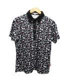 マリクレール MARIE CLAIRE スポーツウェア ポロシャツ 半袖 総柄 英字 LL 黒 ブラック 白 ホワイト