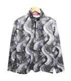 マリクレール MARIE CLAIRE ゴルフウェア ポロシャツ ハーフジップアップ ハイネック 長袖 総柄 LL グレー