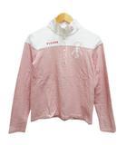 ピッコーネ PICONE ゴルフウェア ハイネック ポロシャツ 長袖 ボーダー ワンポイント ロゴ刺繍 I 赤 レッド 白 ホワイト