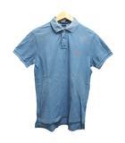 ポロシャツ 半袖 ワンポイント ロゴ刺繍 M 水色 ライトブルー