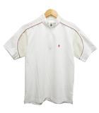 ポロシャツ ハーフジップ 半袖 メッシュ ワンポイント パイピング L 白 ホワイト
