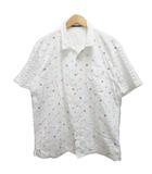 カジュアルシャツ 半袖 オープンカラー 刺繍 5 白 ホワイト マルチカラー