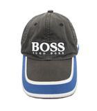 ヒューゴボス HUGO BOSS 帽子 キャップ 切替 ロゴ マルチカラー 青 ブルー 銀 シルバー グレー
