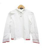 23区 オンワード樫山 ポロシャツ 長袖 ボタンダウン ロゴ刺繍 Ⅲ 白 ホワイト 赤 レッド