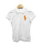 ラルフローレン RALPH LAUREN ポロシャツ 半袖 ワンポイント ロゴ ビーズ L 白 ホワイト オレンジ