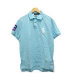 ポロシャツ ワンポイント ロゴ刺繍 半袖 L 水色 ライトブルー 白 ホワイト 紫 パープル