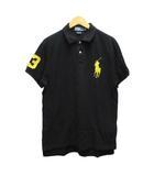 ポロシャツ ワンポイント ロゴ刺繍 半袖 L 黒 ブラック 黄 イエロー