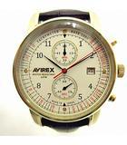 アヴィレックス AVIREX 世界限定950本 Chrono Aviator Chronograph クロノ アヴィエイター クロノグラフ クロコ 型押し レザー バンド 腕時計 白文字盤 YK-190305