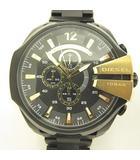 ディーゼル DIESEL DZ-4338 メガチーフ 腕時計 クロノグラフ アナログ 黒文字盤 メタルバンド 黒 金 RU-190413