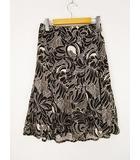 22オクトーブル 22 OCTOBRE スカート マーメイドフレア 花柄 ミモレ丈 ひざ丈 40 白 黒 Y-190416