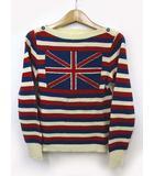 ジェーンマープル Jane Marple ニット セーター ユニオンジャック 長袖 ウール 赤 M ●025