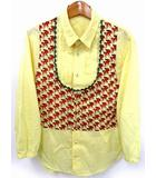 ネネット Ne-net だまし絵 プルオーバー シャツ きつね プリント 長袖 イエロー 黄 2 ●025