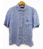 バーバリーブラックレーベル BURBERRY BLACK LABEL シャツ リネン ヨット柄 総柄 半袖 麻100% ホワイト ブルー 白 青 3 ●025