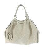 グッチ GUCCI 211944 スーキー ディアマンテ ストロー シマ レザー ハンド バッグ ホワイト 白 かばん カバン 鞄