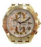 セイコー SEIKO 7T85-0AB0 クロノグラフ デイト スモールセコンド タキメーター クォーツ SS 腕時計 白文字盤 ゴールド 金 難有 現状品
