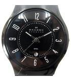 スカーゲン SKAGEN 233MBB カービングメッシュ クオーツ 腕時計 アナログ デイト 黒文字盤 ブラック 黒 ジャンク