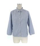 マーガレットハウエル MARGARET HOWELL シャツ ストライプ コットン 七分袖 ブルー 青 2