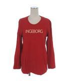 インゲボルグ INGEBORG Tシャツ カットソー ロゴ プリント 長袖 レッド 赤 ●025