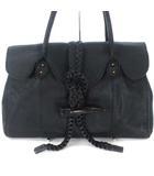 トレ TRES オールレザー ハンド バッグ トート  トグルボタン 本革 ブラック 黒 かばん カバン 鞄