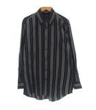 ストライプ ボタンダウン シャツ BDシャツ 長袖 ブラック 黒 M