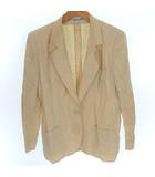 クリスチャンディオール Christian Dior ヴィンテージ 2B テーラード ジャケット リネン 麻100% 背抜き ベージュ M ECR3