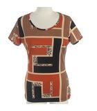 フェンディ FENDI Tシャツ カットソー プリント ロゴ 総柄 半袖 ブラウン 茶 42 ECR3