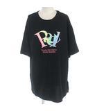 MR3444 Tシャツ カットソー 半袖 グラデーション ロゴ プリント ブラック 黒 M