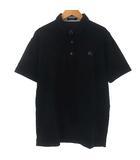 ポロシャツ カットソー 鹿の子 半袖 ロゴ 刺繍 ブラック 黒 4 XL位
