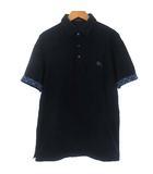 ポロシャツ カットソー 鹿の子 ロゴ 刺繍 半袖 チェック ロールアップ ネイビー 紺 4 XL位トップス
