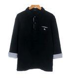 バーバリーブラックレーベル BURBERRY BLACK LABEL ポロシャツ カットソー 七分袖 鹿の子 ロゴ 刺繍 コットン ストライプ ブラック 黒 2 M位 トップス